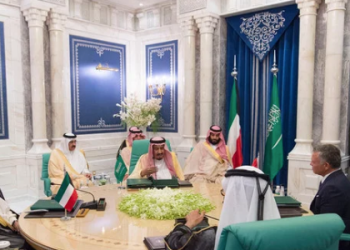 Clockwise from left: Kuwaiti Emir Sheikh Sabah Al-Ahmad Al-Jaber Al-Sabah, Saudi King Salman, Jordan's King Abdullah II and UAE Prime Minister Sheikh Mohammed bin Rashid (back toward the camera). (SPA)