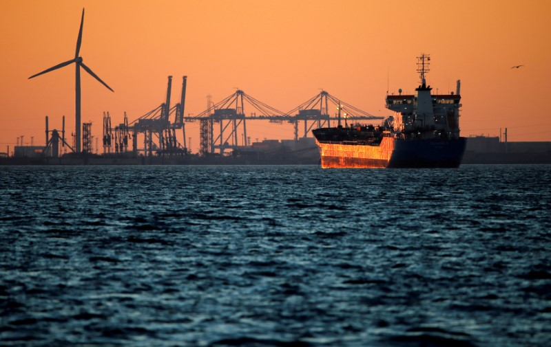 FILE PHOTO: Oil tanker is seen at sunset anchored off the Fos-Lavera oil hub near Marseille, France, October 5, 2017. REUTERS/Jean-Paul Pelissier/File Photo