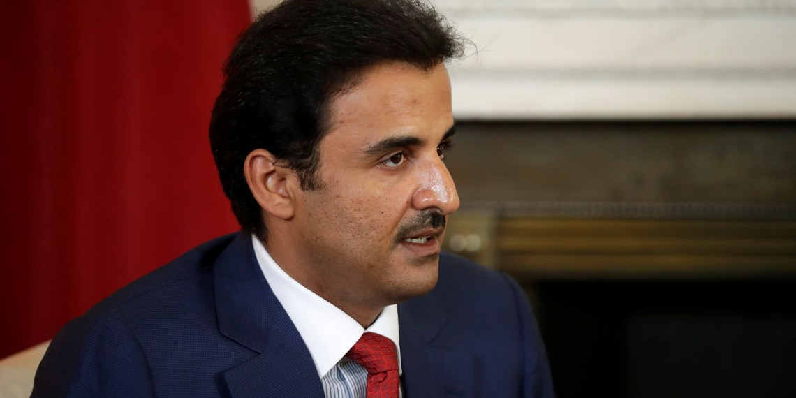 FILE PHOTO: The Emir of Qatar Sheikh Tamim bin Hamad al-Thani speaks to Britain's Prime Minister Theresa May and at the start of their meeting at 10 Downing Street, London, Britain July 24, 2018. Matt Dunham/Pool via REUTERS/File Photo