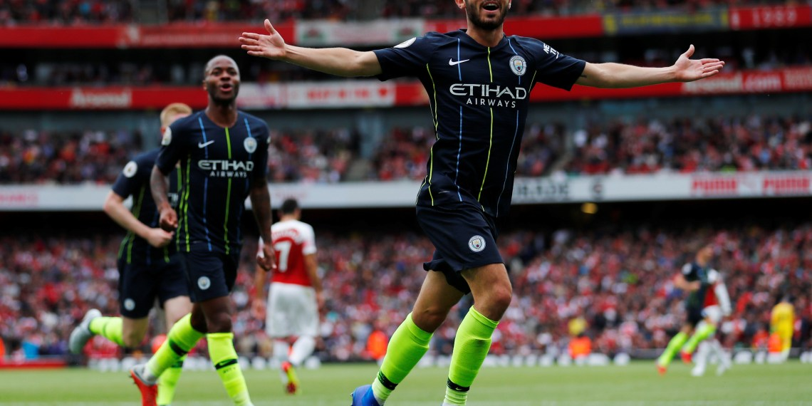 FILE PHOTO: Soccer Football - Premier League - Arsenal v Manchester City - Emirates Stadium, London, Britain - August 12, 2018 Manchester City's Bernardo Silva celebrates scoring their second goal REUTERS/Eddie Keogh