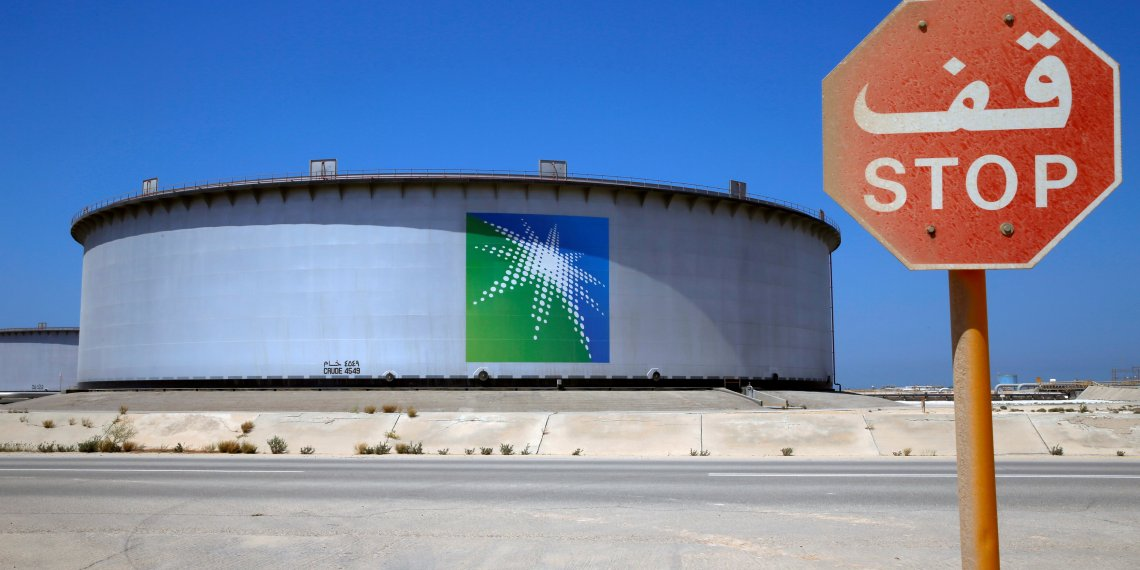 FILE PHOTO: An Aramco tank is seen at Saudi Aramco's Ras Tanura oil refinery and oil terminal in Saudi Arabia May 21, 2018. REUTERS/Ahmed Jadallah/File Photo