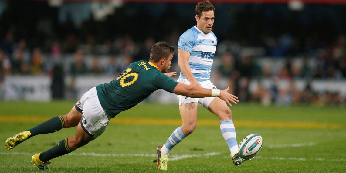 FILE PHOTO: South Africa Rugby Union - Rugby Championship - South Africa's Springboks v Argentina - Kings Park Stadium, Durban, South Africa - August 18, 2018. Argentina's Nicolas Sanchez kicks under pressure from South Africa's Handre Pollard. REUTERS/Rogan Ward