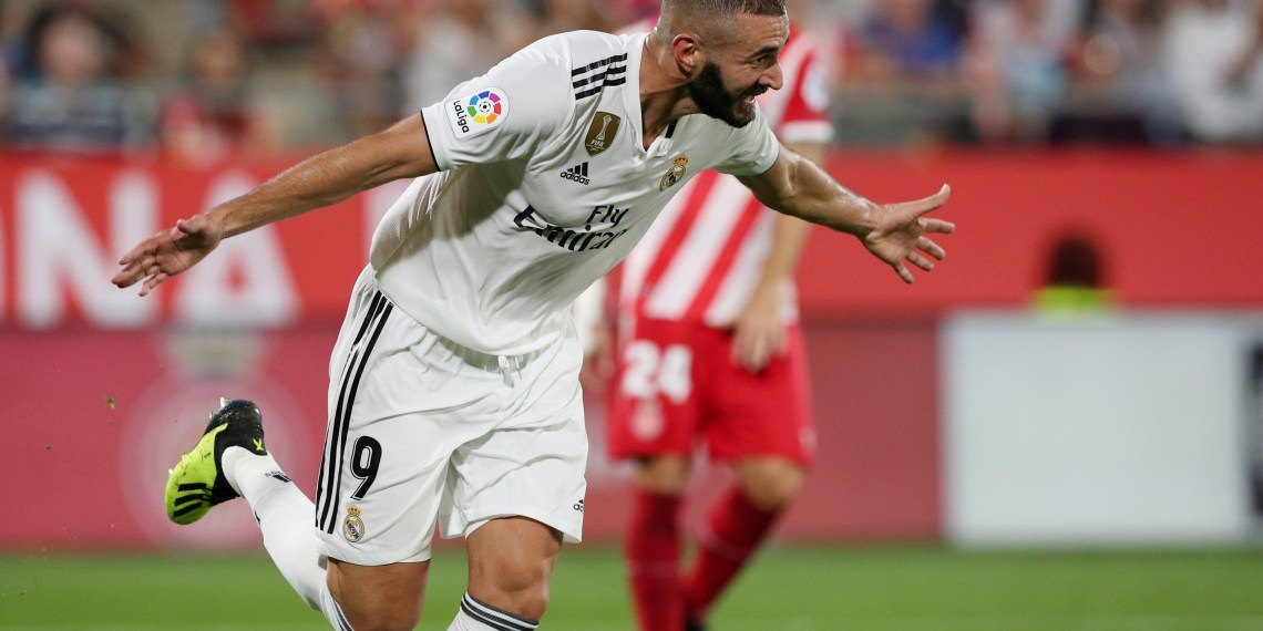 Soccer Football - La Liga Santander - Girona v Real Madrid - Montilivi, Girona, Spain - August 26, 2018   Real Madrid's Karim Benzema celebrates scoring their fourth goal    REUTERS/Albert Gea