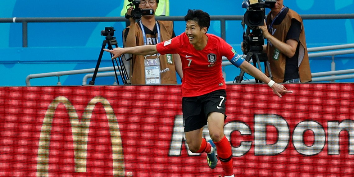 FILE PHOTO: South Korea's Son Heung-min celebrates scoring at the World Cup at Kazan Arena, Kazan, Russia - June 27, 2018. REUTERS/John Sibley/File Photo