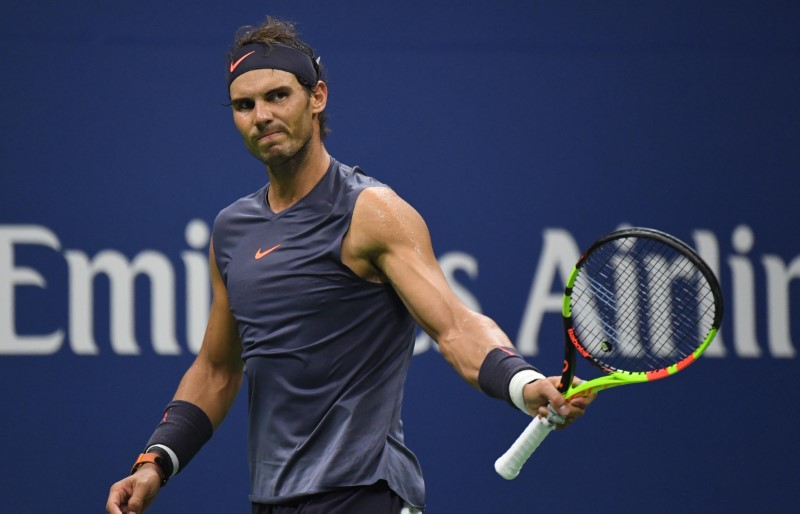 Aug 29, 2018; New York, NY, USA; Rafael Nadal of Spain faces Vasek Pospisil of Canada in a second round match on day three of the 2018 U.S. Open tennis tournament at USTA Billie Jean King National Tennis Center. Mandatory Credit: Danielle Parhizkaran-USA TODAY SPORTS