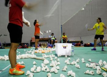 Indonesia badminton players are seen during exercise at national badminton camp in Jakarta, Indonesia, May 3, 2018. Picture taken May 3, 2018. REUTERS/Beawiharta