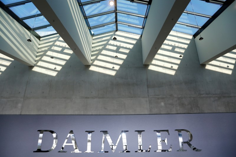 The Daimler logo is seen before the Daimler annual shareholder meeting in Berlin, Germany, April 5, 2018.