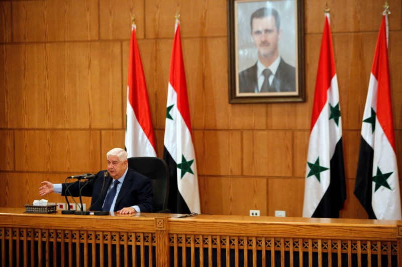 FILE PHOTO: Syria's Foreign Minister Walid al-Moualem speaks during a news conference in Damascus, Syria June 2, 2018. REUTERS/Omar Sanadiki