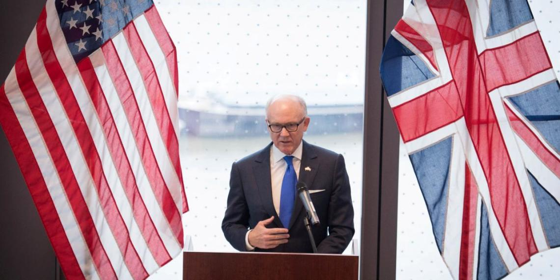 FILE PHOTO: United States ambassador to the Court of St James Woody Johnson speaks during a press preview at the new United States embassy building near the River Thames in London, Britain December 13, 2017. REUTERS/Stefan Rousseau/File Photo