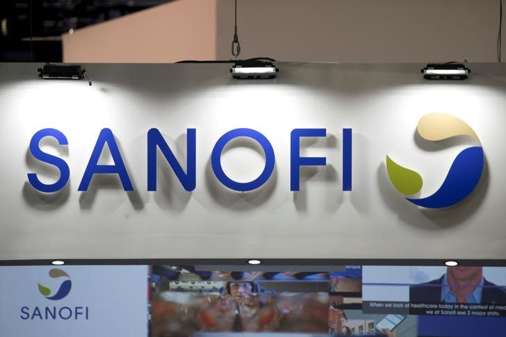 FILE PHOTO: The logo of Sanofi is pictured during the Viva Tech start-up and technology summit in Paris, France, May 25, 2018. REUTERS/Charles Platiau/File Photo