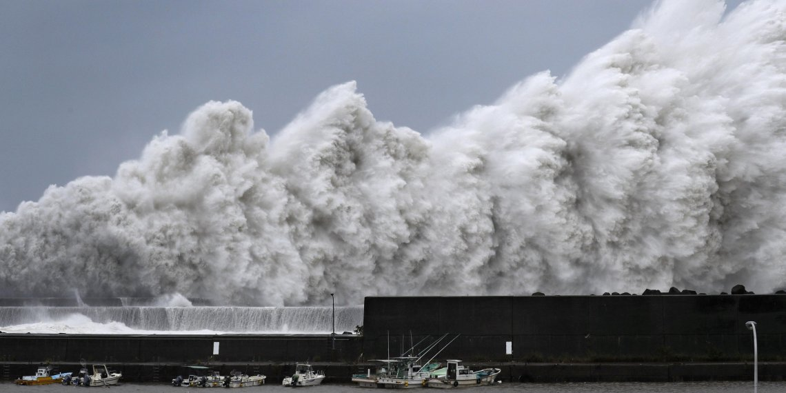 High waves triggered by Typhoon Jebi are seen at a fishing port in Aki, Kochi Prefecture, western Japan, in this photo taken by Kyodo September 4, 2018. Mandatory credit Kyodo/via REUTERS