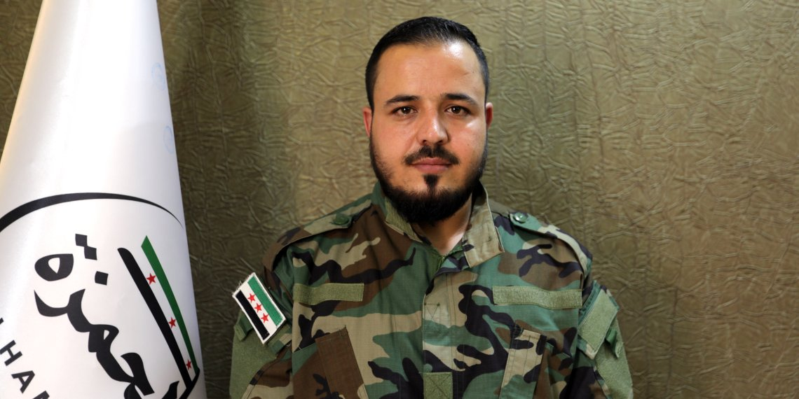 Lieutenant Abdallah Halawa, commander of Hamza Brigade rebels poses for a picture in the city of al-Bab, Syria August 19, 2018. REUTERS/Khalil Ashawi