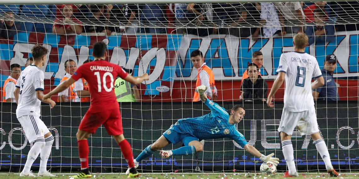 Soccer Football - UEFA Nations League - League B - Group 2 - Turkey v Russia - Medical Park Arena, Trabzon, Turkey - September 7, 2018  Russia's Andrey Lunev makes a save  REUTERS/Murad Sezer