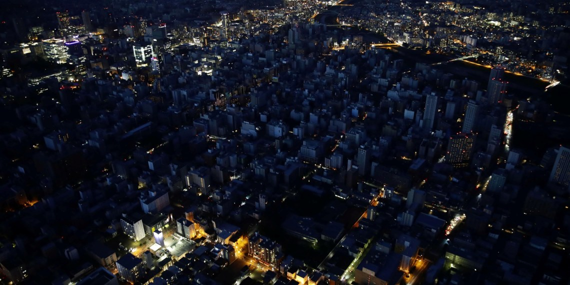 An aerial view shows central Sapporo city during blackout after an earthquake hit the area in Sapporo, Hokkaido. Kyodo/via REUTERS