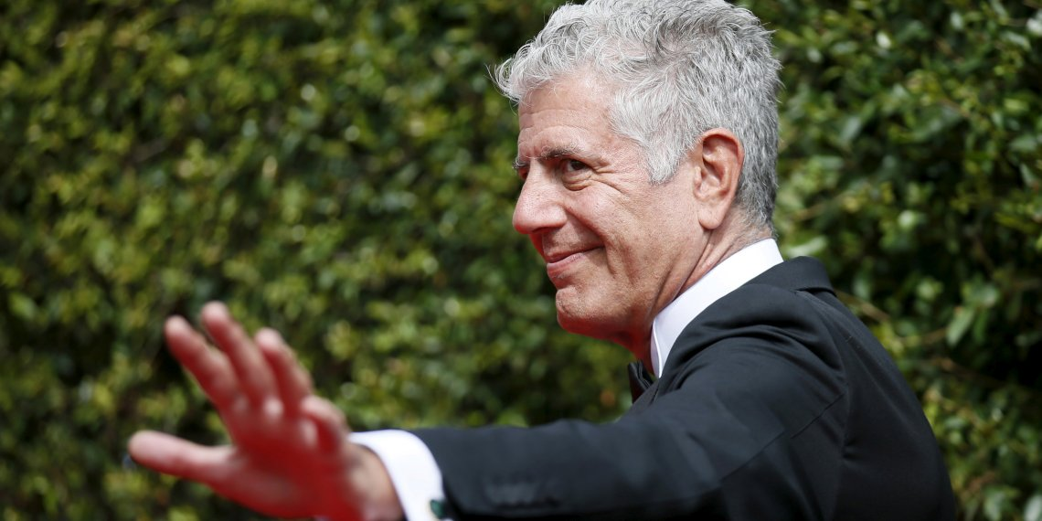 FILE PHOTO: Chef Anthony Bourdain poses at the 2015 Creative Arts Emmy Awards in Los Angeles, California September 12, 2015. REUTERS/Danny Moloshok/File Photo