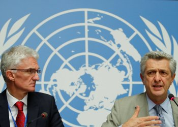 U.N. High Commissioner for Refugees (UNHCR) Filippo Grandi (R) and U.N. humanitarian coordinator Mark Lowcock attend a news conference following their joint mission to Afghanistan and Pakistan at the United Nations in Geneva, Switzerland, September 10, 2018. REUTERS/Denis Balibouse
