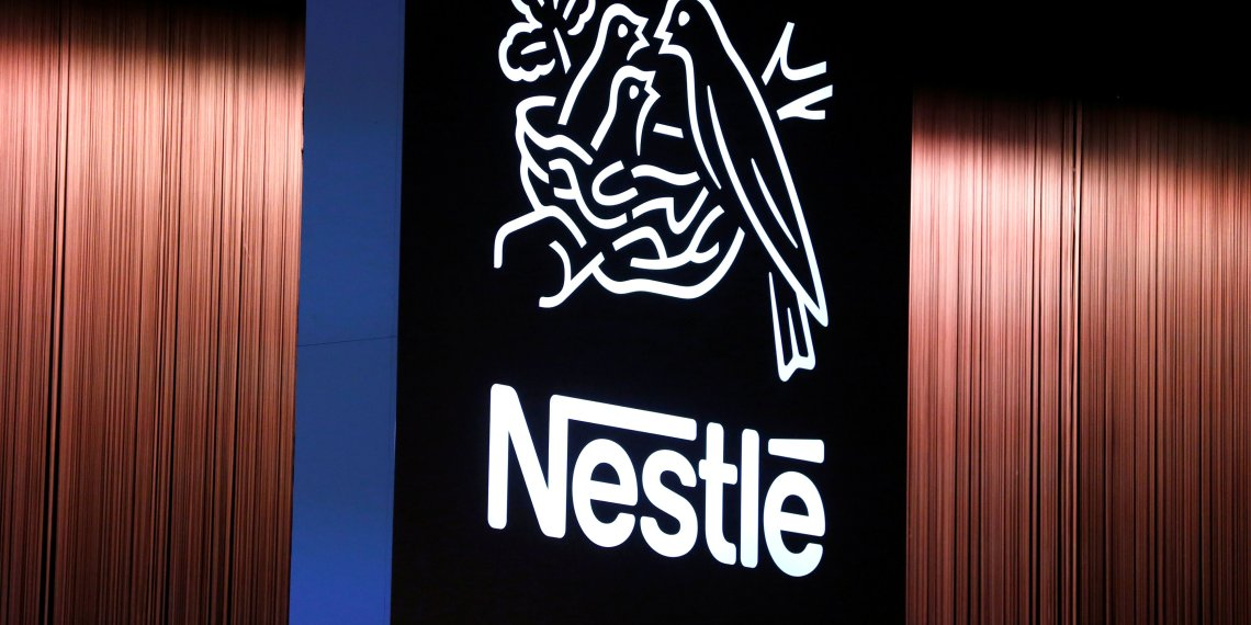FILE PHOTO: The Nestle logo is seen during the opening of the 151st Annual General Meeting of Nestle in Lausanne, Switzerland April 12, 2018. REUTERS/Pierre Albouy/File Photo
