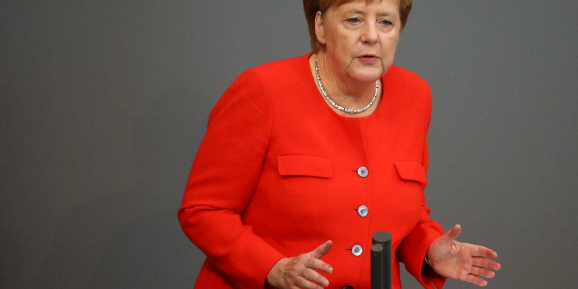 German Chancellor Angela Merkel speaks during a session at the lower house of parliament Bundestag in Berlin, Germany, September 12, 2018. REUTERS/Hannibal Hanschke