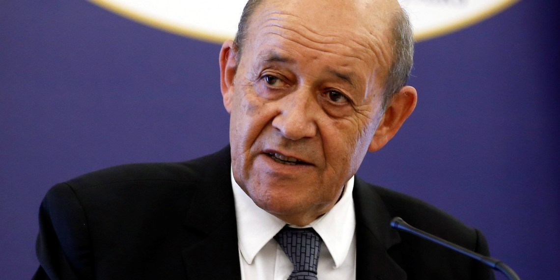 FILE PHOTO: French Foreign Minister Jean-Yves Le Drian attends a news conference with his Greek counterpart Nikos Kotzias (not pictured) following their meeting at the Foreign Ministry in Athens, Greece, September 6, 2018. REUTERS/Costas Baltas/File Photo