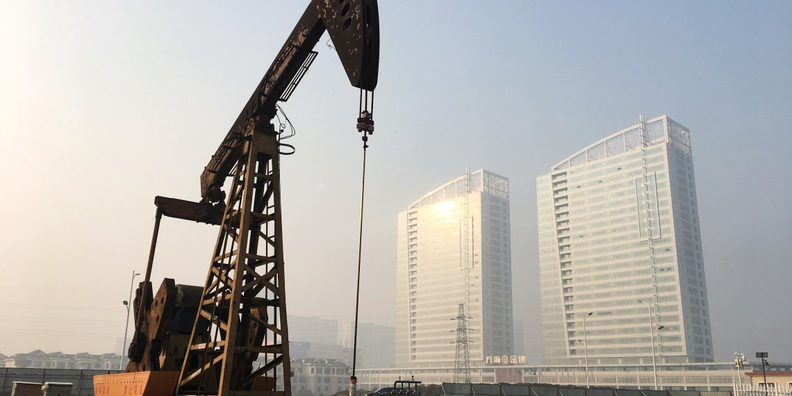 A pumpjack is seen at the Sinopec-operated Shengli oil field in Dongying, Shandong province, China January 12, 2017. Picture taken January 12, 2017. REUTERS/Chen Aizhu