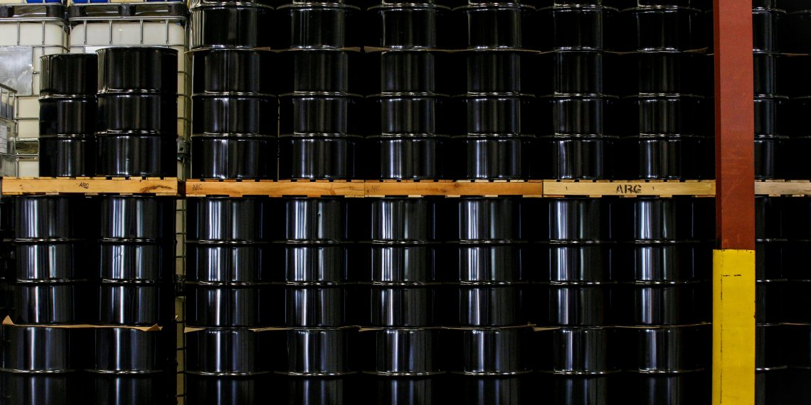 FILE PHOTO: Barrels are stacked in a warehouse at the American Refining Group, Inc. in Bradford, Pennsylvania, U.S. October 6, 2017. REUTERS/Brendan McDermid/File Photo
