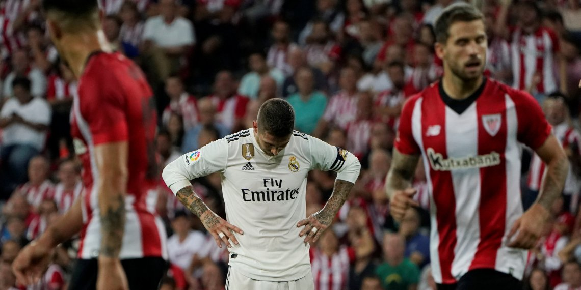 Soccer Football - La Liga Santander - Athletic Bilbao vs Real Madrid - San Mames, Bilbao, Spain - September 15, 2018 Real Madrid's Sergio Ramos reacts during the match REUTERS/Vincent West