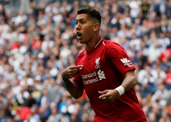 Liverpool's Roberto Firmino celebrates a goal which is later disallowed for offside. Premier League - Tottenham Hotspur v Liverpool - Wembley Stadium, London, Britain - September 15, 2018. Action Images via Reuters/Paul Childs