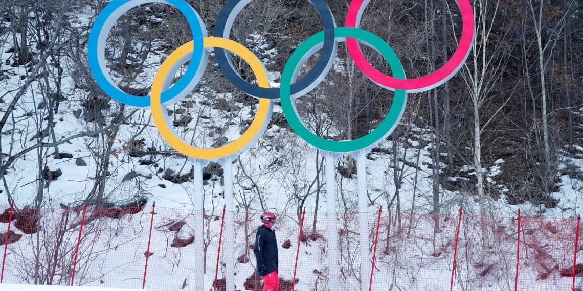 FILE PHOTO: Alpine Skiing – Pyeongchang 2018 Winter Olympics – Men's Downhill – Jeongseon Alpine Centre - Pyeongchang, South Korea – February 11, 2018 - The Olympics rings are seen at the Alpine venue after the men's downhill was postponed due to strong winds. REUTERS/Mike Segar/File Photo
