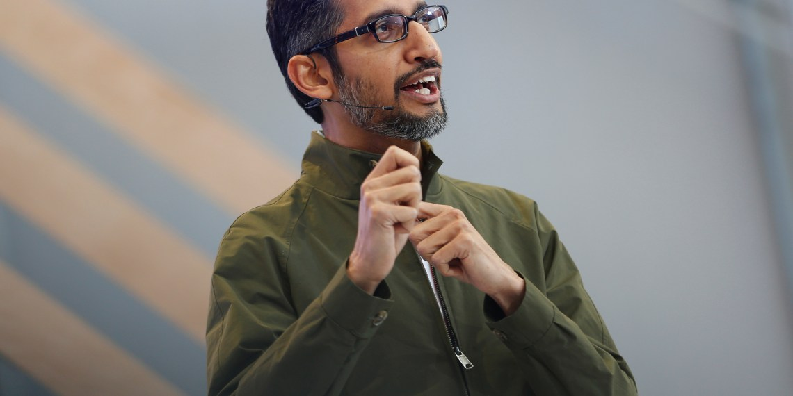Google CEO Sundar Pichai speaks on stage during the annual Google I/O developers conference in Mountain View, California, May 8, 2018. REUTERS/Stephen Lam