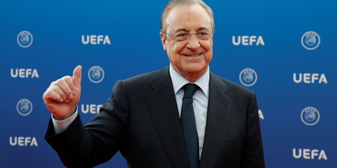 Soccer Football - Champions League Group Stage Draw - Grimaldi Forum, Monaco - August 30, 2018   Real Madrid president Florentino Perez before the draw   REUTERS/Eric Gaillard