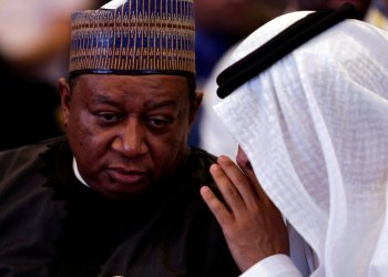 FILE PHOTO: UAE Energy Minister Suhail bin Mohammed al-Mazroui talks with OPEC Secretary-General Mohammed Barkindo during the inaugural session ceremony of the OPEC Ministerial Monitoring Committee in Algiers, Algeria September 23, 2018. REUTERS/Ramzi Boudina