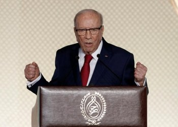 FILE PHOTO: Tunisian President Beji Caid Essebsi delivers a speech in Tunis, Tunisia May 10, 2017. REUTERS/Zoubeir Souissi
