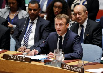 France's President Emmanuel Macron addresses the United Nations Security Council meeting during the 73rd session of the United Nations General Assembly at U.N. headquarters in New York, U.S., September 26, 2018. REUTERS/Carlos Barria