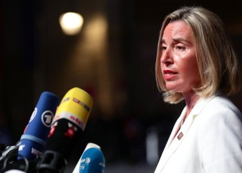 European Union High Representative for Foreign Affairs and Security Policy Federica Mogherini talks to the media as she arrives for the informal meeting of European Union leaders ahead of the EU summit, in Salzburg, Austria, September 19, 2018. REUTERS/Lisi Niesner/File Photo