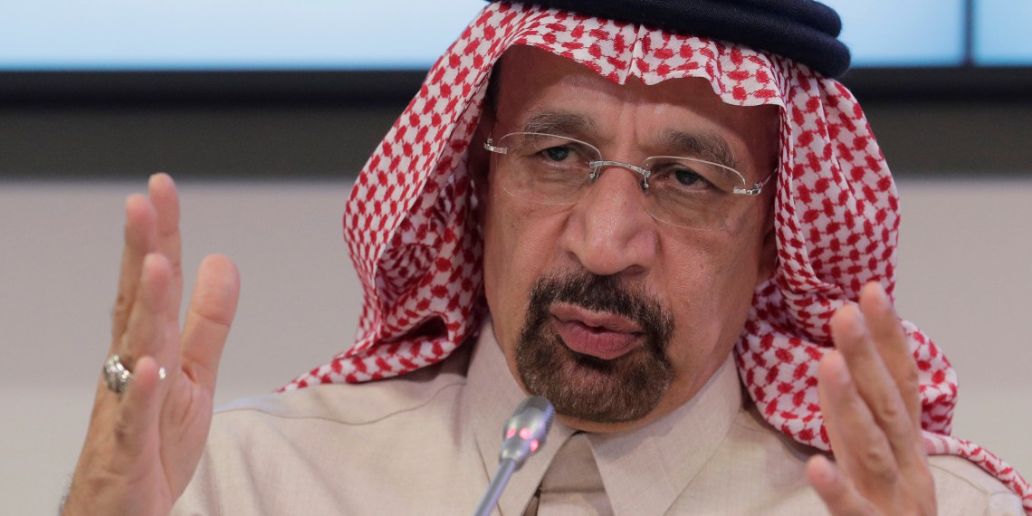 FILE PHOTO: Saudi Arabia's Oil Minister Khalid al-Falih addresses a news conference after an OPEC meeting in Vienna, Austria, November 30, 2017. REUTERS/Heinz-Peter Bader