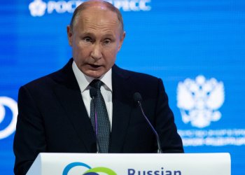 Russian President Vladimir Putin delivers a speech during a session of the Russian Energy Week international forum in Moscow, Russia October 3, 2018. Alexander Zemlianichenko/Pool via REUTERS