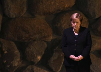 German Chancellor Angela Merkel attends a ceremony commemorating the six million Jews killed by the Nazis during the Holocaust, in the Hall of Remembrance at Yad Vashem World Holocaust Remembrance Center in Jerusalem October 4, 2018. Debbie Hill/Pool via REUTERS