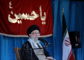FILE PHOTO: Iranian Supreme Leader Ayatollah Ali Khamenei delivers a speech to thousands of Basij members at Azadi stadium in Tehran, Iran October 4, 2018. Khamenei.ir/ Handout via REUTERS