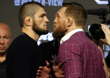 FILE PHOTO: Sep 20, 2018; New York, NY, USA; Khabib Nurmagomedov and Conor McGregor face off during a press conference for UFC 229 at Radio City Music Hall. Mandatory Credit: Noah K. Murray-USA TODAY Sports/File Photo