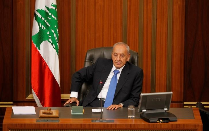 FILE PHOTO: Lebanese Parliament Speaker Nabih Berri heads a general parliament discussion in downtown Beirut, Lebanon October 18, 2017. REUTERS/Mohamed Azakir/File Photo