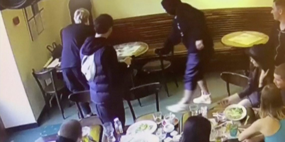 A still image taken from a CCTV footage shows a recent incident, which reportedly involves Russian soccer players Alexander Kokorin and Pavel Mamayev, at a cafe in Moscow, Russia October 8, 2018. Russian Interior Ministry Chief Department in Moscow/Handout via REUTERS TV