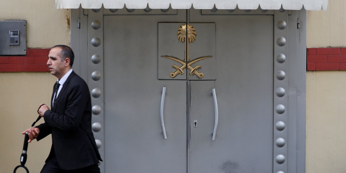A member of security staff is seen at the entrance of Saudi Arabia's consulate in Istanbul, Turkey October 10, 2018. REUTERS/Murad Sezer