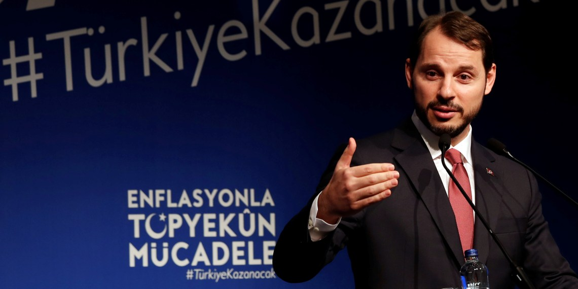 FILE PHOTO: Turkish Finance Minister Berat Albayrak speaks during an event to announce his programme to fight inflation, in Istanbul, Turkey October 9, 2018. REUTERS/Murad Sezer