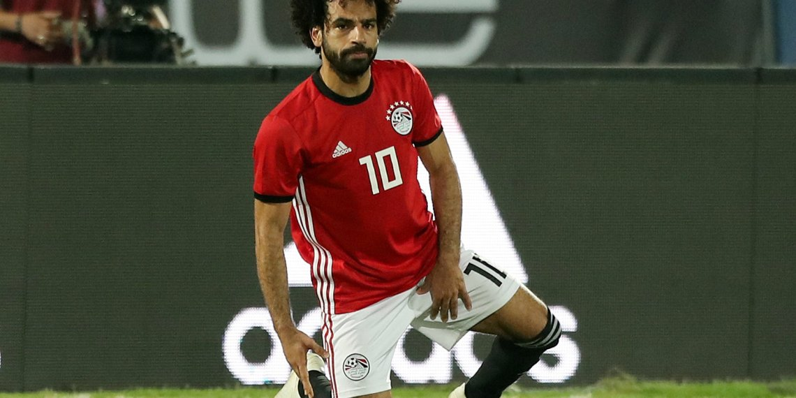 Soccer Football - African Nations Cup Qualifier - Egypt v Swaziland - Al-Salam Stadium, Cairo, Egypt - October 12, 2018 Egypt's Mohamed Salah reacts after sustaining an injury REUTERS/Mohamed Abd El Ghany