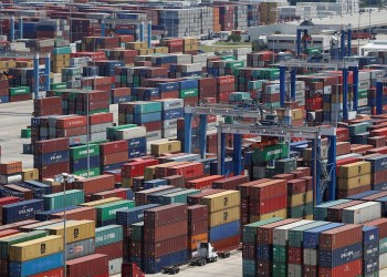 Shipping containers are stacked for storage at Wando Welch Terminal operated by the South Carolina Ports Authority in Mount Pleasant, South Carolina, U.S. May 10, 2018. REUTERS/Randall Hill