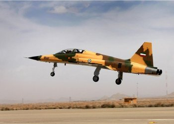 "The ""Kowsar"" domestic fighter jet, a fourth-generation fighter, with ""advanced avionics"" and multi-purpose radar. (AFP)"