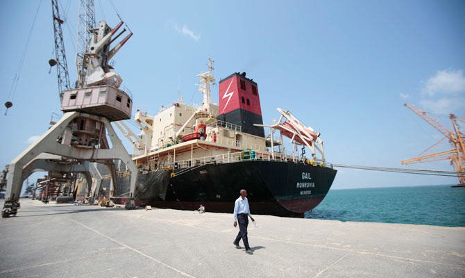 In this Sept. 29, 2018, file photo, a cargo ship is docked at the port, in Hodeida, Yemen. (AP)
