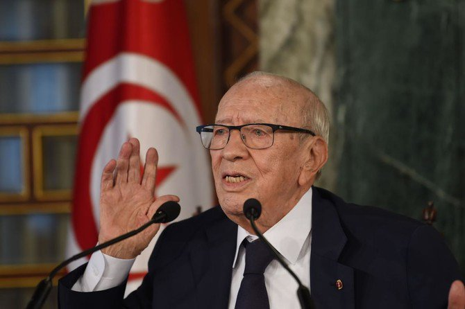 Tunisian President Beji Caid Essebsi gives a press conference on November 8, 2018 in Carthage Palace near Tunis concerning the cabinet reshuffle. (AFP)