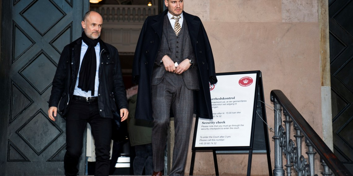 Denmark's soccer player Nicklas Bendtner and his lawyer Anders Nemeth leave Copenhagen City Court, after he was sentenced with unconditional imprisonment for 50 days for violence against a taxi driver in Copenhagen, Denmark November 2, 2018. Martin Sylvest/Ritzau Scanpix/via REUTERS