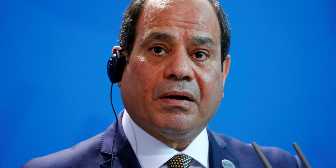 Egyptian President Abdel Fattah al-Sisi speaks during a news conference with German Chancellor Angela Merkel (not pictured) at the Chancellery in Berlin, Germany, October 30, 2018. REUTERS/Hannibal Hanschke